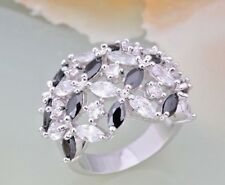 Black & White Cz Marquise Floral Dome Shaped Cocktail Ring in 14k White Gold Fn