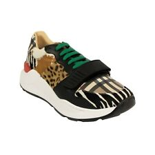 NIB BURBERRY Beige Animal And Vintage Print Sneakers Shoes Size 13/46 $620
