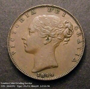 RARE 1844 VICTORIA FARTHING REVERSE B VARIETY LCGS GRADED 50 (SHELDON AU55)