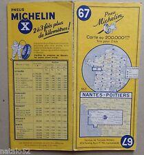 ) carte MICHELIN 67 NANTES - POITIERS 1955 (modèle n° 2)