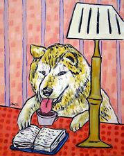 akita Print dog art gift for librarian modern akita art 11x14 folk art Jschmetz