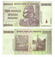 UNC ZIMBABWE $200 Million Dollars (2008) P-81 from the $100 Trillion bill series