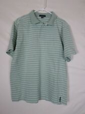 c4cfb898e9 Lands End Mens Shirt SIze Large Green White Striped Short Sleeve Polo Cotton