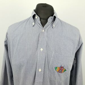 Iceberg Mens Vintage Shirt BUGS BUNNY 40 MEDIUM Long Sleeve Blue Check