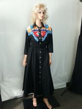VTG D Frank Western Long Dress Black South West Designs Beaded Rodeo Swing 10