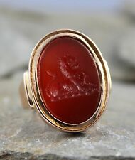 STUNNING ANTIQUE VICTORIAN CHUNKY 18CT GOLD CARNELIAN LION SEAL INTAGLIO RING