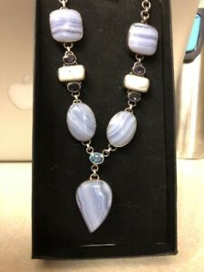 LADIES GEM SET NECKLACE SOLID STERLING 925 SILVER BLUE AGATE SHELL STUNNING BOX