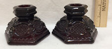 Avon Candlestick Candle Holders Cape Cod Ruby Red Pair Set Vintage Pressed Glass