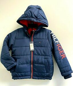 NEW Tommy Hilfiger Boys' Youth XS,S,M Jacket TH flag Logo Fleece Lining Blue