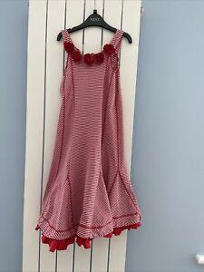 Red White Striped Kate Mack Sleeveless Summer Dress Age 10 Scuba Roses Frill Hem