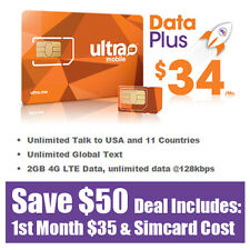 Free 1st Month - Ultra Mobile Prepaid SIM Card $34 Unlimited Talk Text & Web