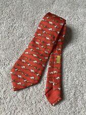 Hermes Paris Silk Rare Orange Red Gold Green Rabbits Tie Model 7689 OA