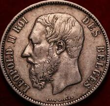 1873 Belgium 5 Francs Silver Foreign Coin