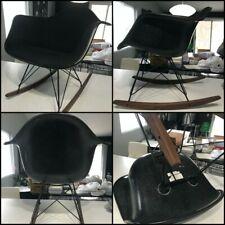 (1x) BLACK MCM Herman Miller Eames Fiberglass Rocker Shell Chair