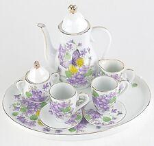 MINIATURE WISTERIA PORCELAIN TEA SET TEAPOT SUGAR BOWL CREAMER 2 TEACUPS
