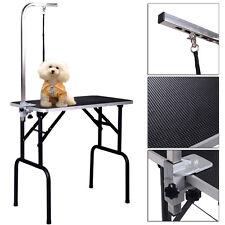 "Adjustable 32"" Pet Dog Cat Grooming Table Top Foam W/Arm&Noose Rubber Mat New"