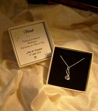 Bridesmaid Jewellery Sterling silver pendant  CZ personalised box  Wedding Gift