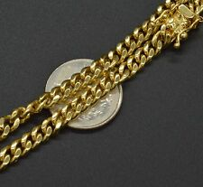 as82 14K Solid Yellow Gold 4MM  Cuban Curb Chain Necklace 22'' 31.3gr