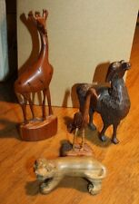 4 Carved Wooden Animals