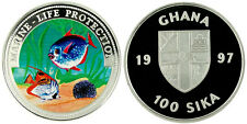 1997 Ghana Large Color Silver Proof  100 Sika-Tropical fish
