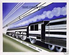 Art Deco train poster Grand Bal du Rail Trans Europe SKU3508