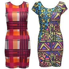 Ladies Women Leopard Aztec Check Stripe Print Short Mini Stretch Bodycon Dress