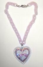 NEW Fabulous TARINA TARANTINO Pink BOW CRYSTAL HEART PENDANT/Necklace