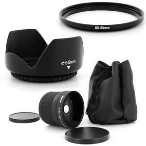 Super Fish Eye 0.18x wide Lens + 55mm Hood for PANASONIC LUMIX DMC-FZ50 DMC-FZ30