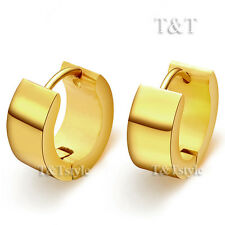 T&T 14K Gold GP Stainless Steel Thick Hoop Earrings Large 16mm EH01J(7x12)