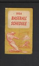 1954 Baltimore Orioles and Senators Pocket Schedule Tri-Fold Inaugural Year