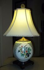 Vintage WILDWOOD Asian Inspired Table Lamp - Wood, Brass and Porcelain ~ 26""