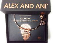 Alex and Ani Calavera Bangle Bracelet Shiny Rose Gold New Tag Box Card