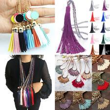 Wholesale Women Long Tassel Pendant Necklace Sweater Leather Boho Chain Jewelry