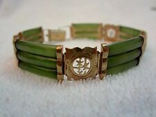 Vintage Asian 14 kt Gold & Jade Bracelet --Exquisite!