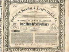 Galveston Houston and Henderson Railroad 1857 10% Texas RAR! SELTEN! Signaturen!