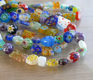 Assorted Millefiori Glass Beads Strand 31b Round Square Rectangle Flower Coin+