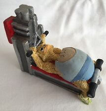 Large Rare EGGBERT Ornament Malcolm Bowmer Figure  PULL DOWN BENCH WEIGHT LIFTER