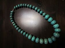 """Native American Sterling Silver Graduated Turquoise Bead Chunky Necklace19""""=134g"""
