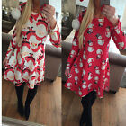 Ladies Christmas Printed XMAS Party Fashion Flared Swing Dress size 8/10/12/14 D