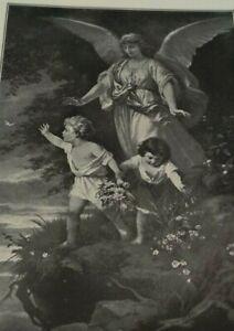 "1910 TEACH ME THY WAY Bible Print Bernhard Plockhorst ""Guardian Angel"" Psalm 27"