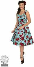 Hearts & Roses 50s Ditsy Red Rose Blue Floral Stretch Cotton Dress