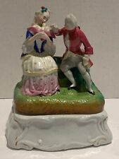 Antique Porcelain Inkwell of  a Couple  with  Bird