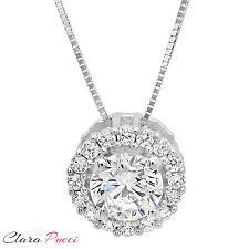 """1.35 ct Round Cut PAVE 14K White Gold Solitaire Pendant Necklace BOX + 16"""" Chain"""