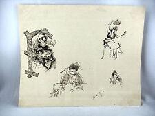 DESSIN A LA PLUME 19e - SUR LE THEME DES ENFANTS - SIGNE F. FIGON 1894