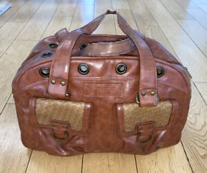 SMALL BROWN DOG CAT SOFT CARRIER Tote Purse Faux Leather With Grommets