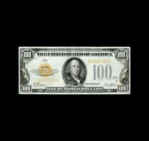 BEAUTIFUL 1928 $100 GOLD CERTIFICATE VERY FINE