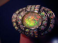Glamorosas Opal anillo más radiante fuego Opal 925 Sterling plata enorme talla 54