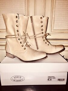 STEVE MADDEN TROOPA COMBAT BOOTS NATURAL LEATHER Zip/Laced Women's SZ 6.5M NEW