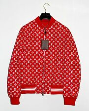 Louis Vuitton x SUPREME RED LEATHER Monogram Box Bogo Logo Blouson Jacket 46 S M