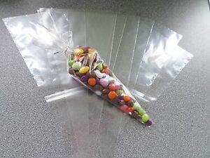 Medium Size - Clear Cello Cone Bags 30cm x 16cm - Party Bags - Sweet Bags